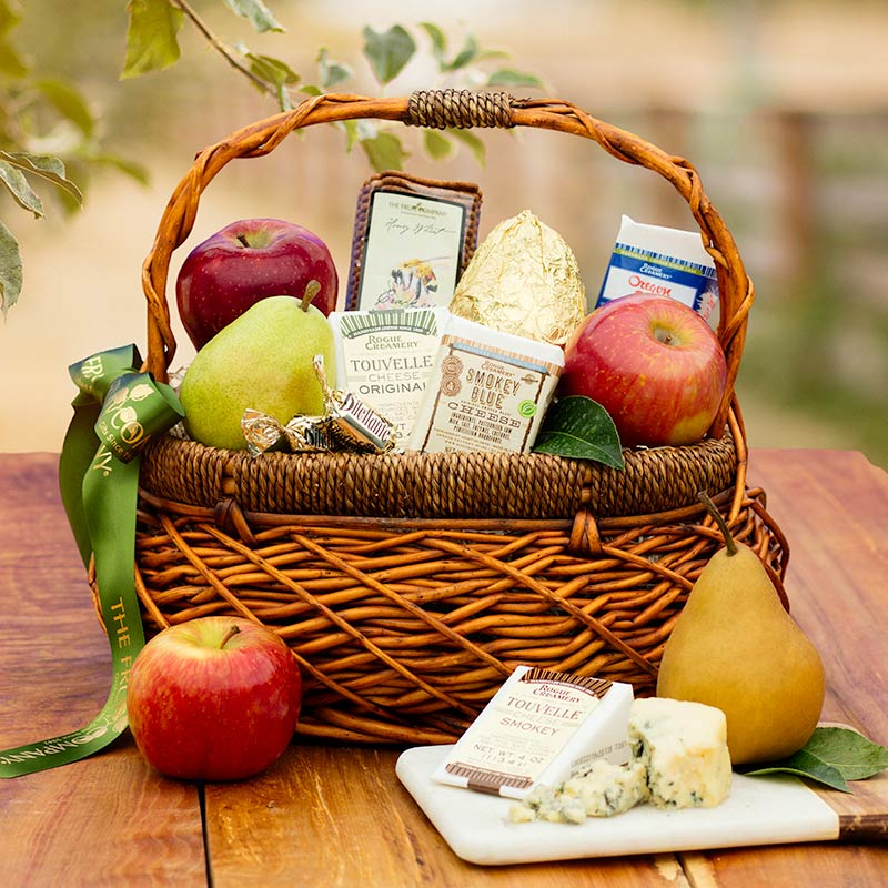 A customer favorite!  The Artisan Fruit and Cheese gift basket is brimming with award-winning blue cheeses, TouVelle cheeses, juicy apples, pears, and honey wheat crackers.  Includes 2-day Free Shipping for quick and easy delivery!