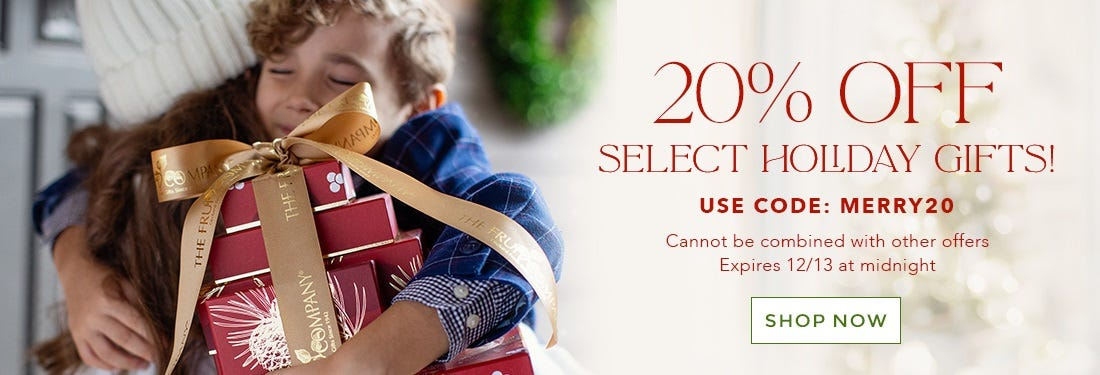 20% off Select Holiday Gifts with Code MERRY20 Shop Now