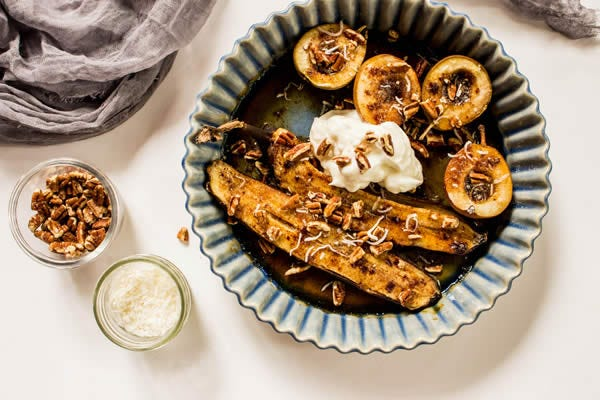 Grilled Seckel Pears with Salted Brown Sugar and Pecans Recipe from The Fruit Company