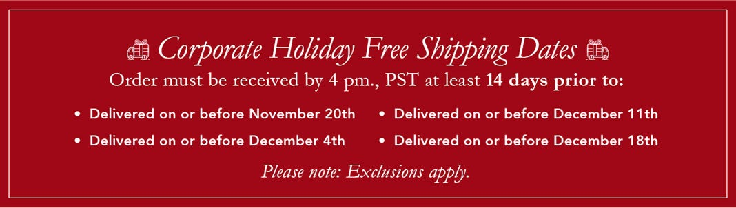 Corporate Holiday Free Shipping Dates