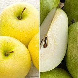 Golden Supreme Apples and Green D'Anjou Pears